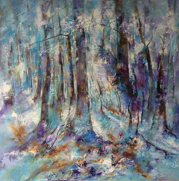 "Woods in Snow With Fox 30"" x 30"""