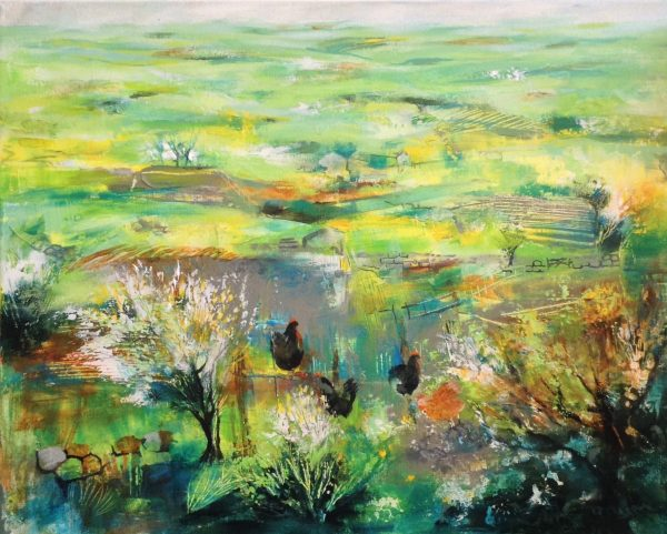 Chickens in a Landscape 60 x 50cm